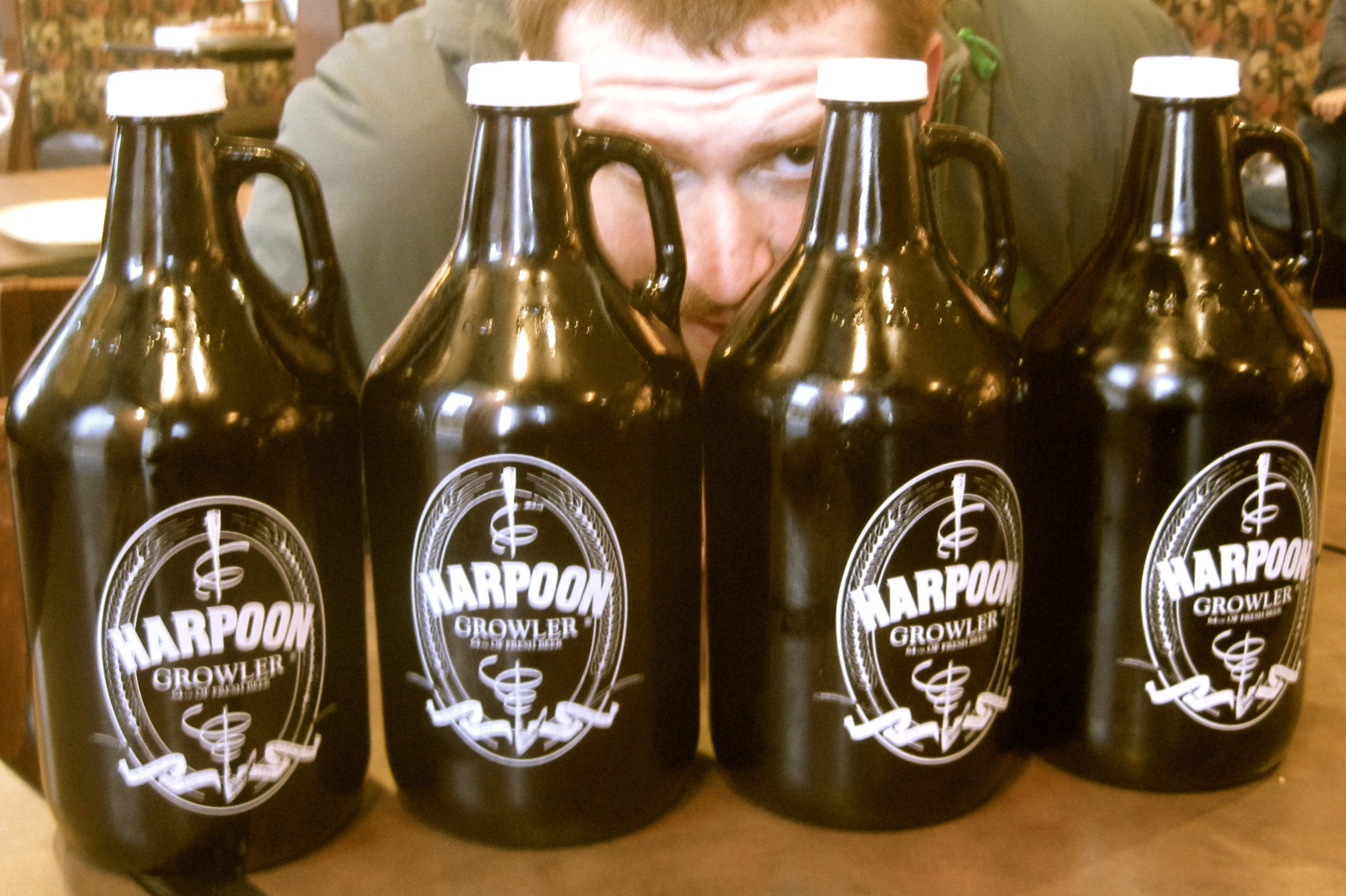 4 growlers with a side of creepy man please.