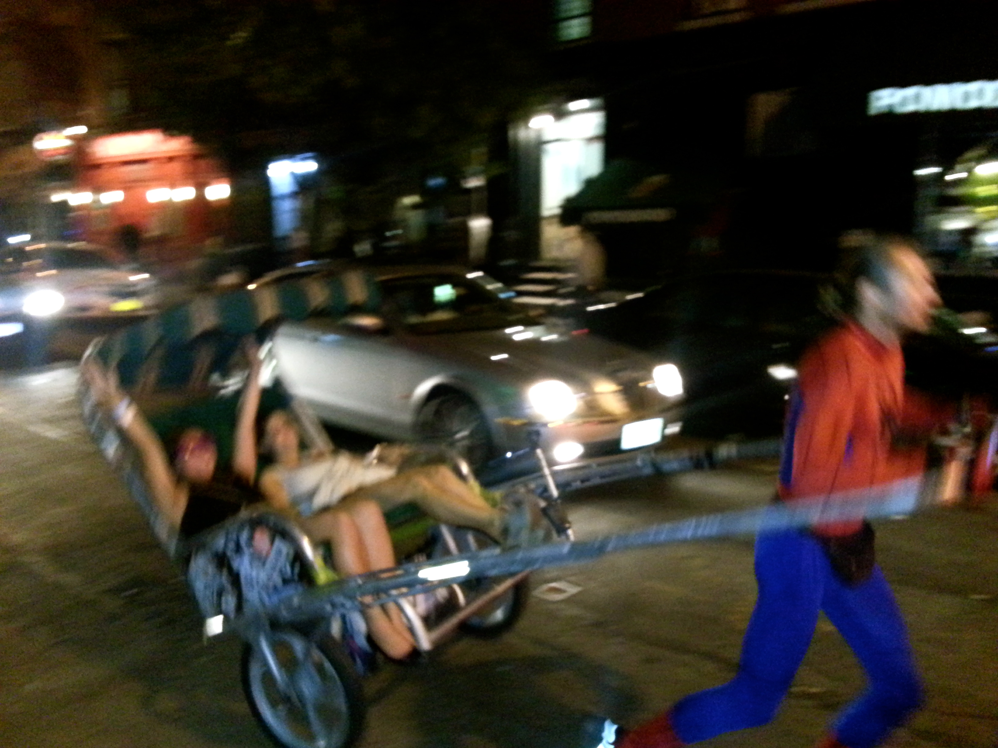 Very willingly accepting a ride from a lunatic on the streets half dressed like spider man in his homemade buggy.